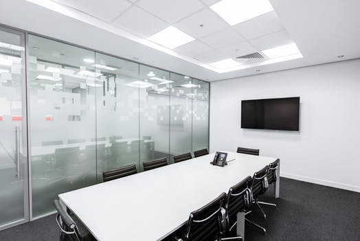 white and glass office partitions